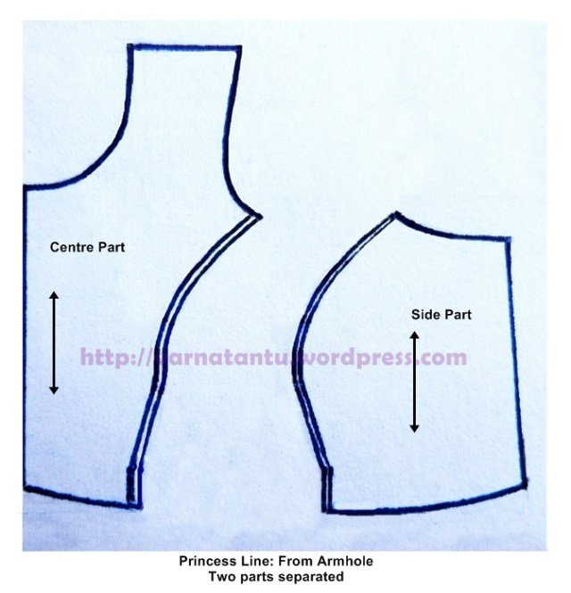 Pattern - Princess Line From Armhole - After Cutting
