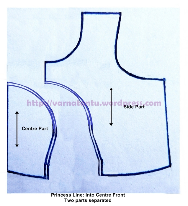 Pattern - Princess Line Into Centre Front - After Cutting