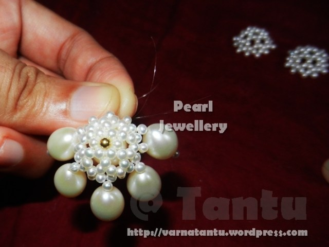Pearls & Gold Pendant - Jhumki parts in background