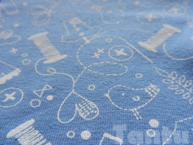 Blue printed cotton knit leggings - Close up