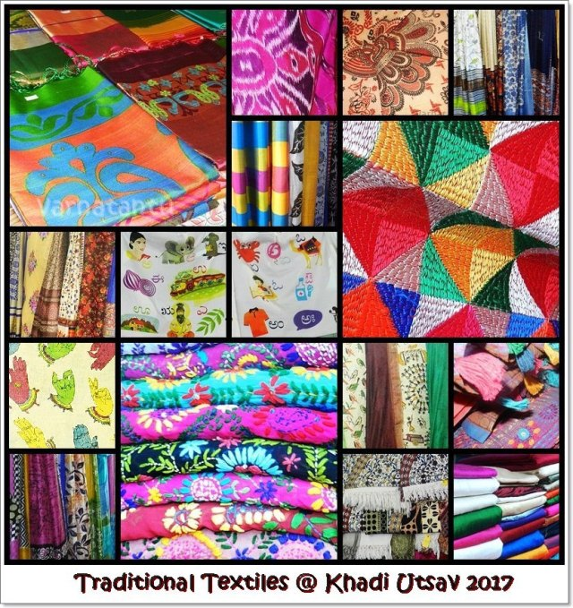 Ikkat, brock printing, weaving designs, batik, phulkari, chikankari, kalamkari and other traditional textiles photos from Khadi Utsav 2017