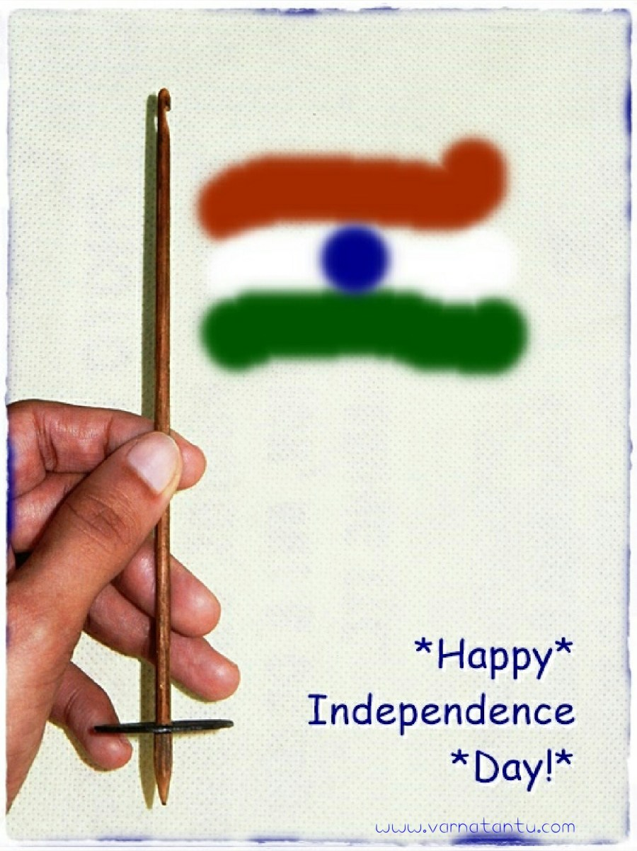 The idea of popularizing Takli spinning for independence is symbolised with Takli in hand flaunting the Indian national flag.