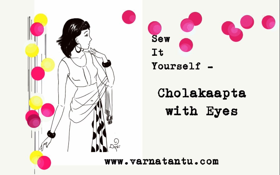 A fashion illustration of a girl wearing a sari blouse with Eye-controlled Cholakaapta drawn with Autodesk Sketch app.