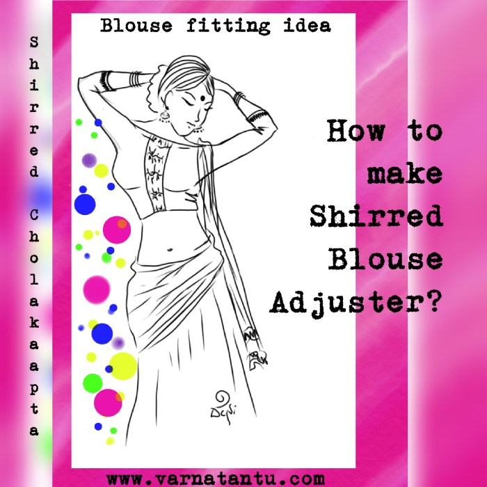 A tutorial about Making of Shirred Cholakaapta (Blouse Adjuster), a sari blouse fitting idea.