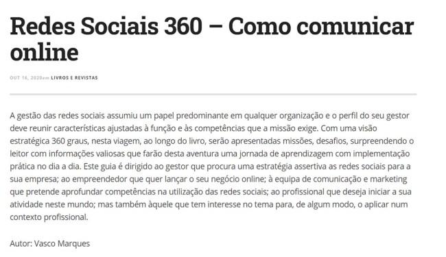 lider magazine livro redes sociais 360 vasco marques