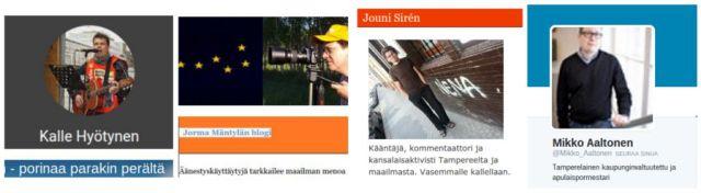 Kalle Hyötysen, Jorma Mäntylän, Jouni Sirénin ja Mikko Aaltosen blogikirjoitukset esittelyvuorossa tällä viikolla.
