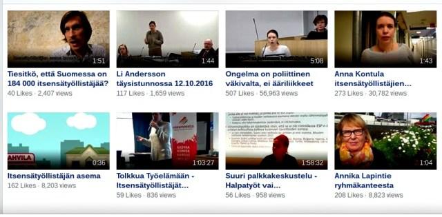 Vasemmistoliiton Facebook-sivulta voi seurata suoratoistolähetyksiä painamalla vasemmasta reunasta löytyvää Livestream-painiketta. Lähetykset tallennetaan sivun videokansioon, josta löytyy myös muita tallenteita, myös ajankohtaisia animaatioita. Yllä kuvakaappaus vasemmistoliiton Facbook-videokansion ajankohtaisesta tarjonnasta.
