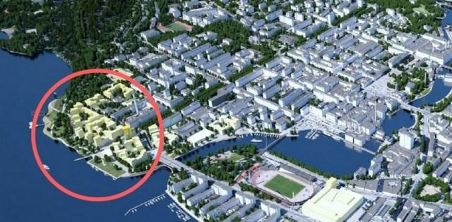 Kerrostalokolossit korvaavat vapaat rannat ja puistot Tampereen keskustassa. Kuva on kaapattu Tampereen keskustan kärkihankkeet 2016 -raportista. Eteläpuiston aluetta osoittava ympyrä on lisätty kuvaan jälkeenpäin.