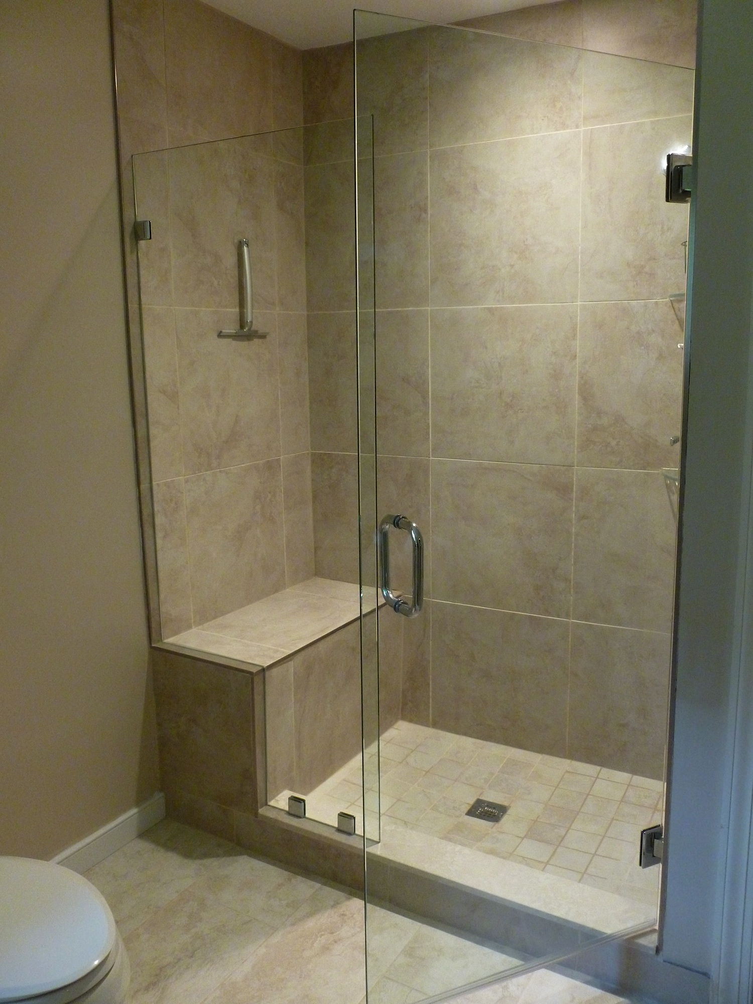 This 28 x 72 hinged frameless door has an adjoining notched panel that fits up and over on the bench seat. Hinges \u0026 clips are beveled in a brush nickel ... & Frameless Shower Door with Notched Panel / Manakin-Sabot Va ...