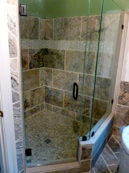 """Frameless  Neo Angle Glass Shower Enclosure 3/8"""" Clear Glass with  Mitered Edges Oil Rubbed Bronze Finish Ashland Va RVA Virginia Shower Door"""