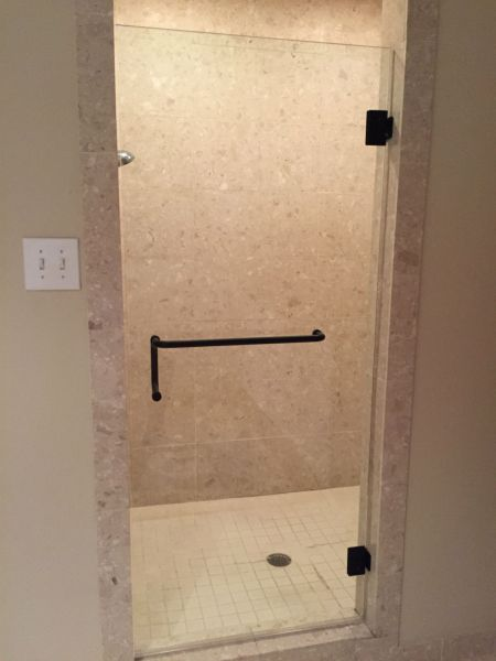 FRAMELESS SHOWER DOOR RICHMOND VA / OIL RUBBED BRONZE FINISH / COMBO TOWEL BAR AND HANDLE / SHOWER DOOR REPLACEMENT RICHMOND VA