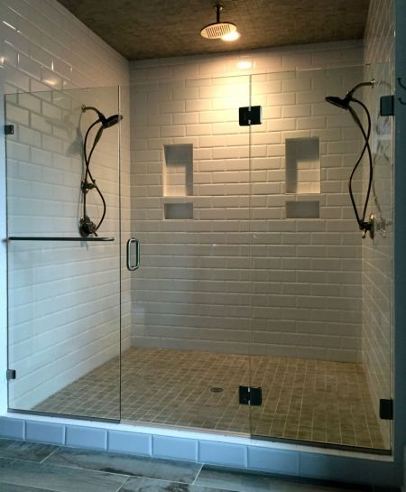 FRAMELESS SHOWER DOOR HALLSLEY SUBDIVISION CHESTERFIELD VA  BIRINGER BUILIDERS