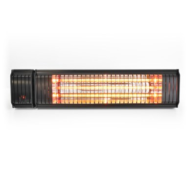 The Appino 20 black infrared patio heater with bluetooth app control, view from the front