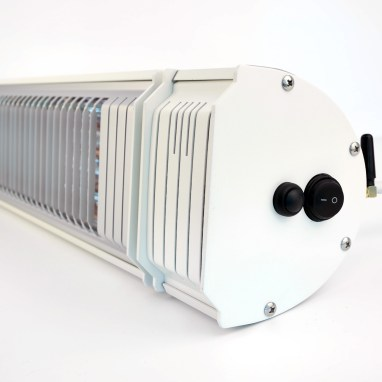 Appino 20 in white side view infrared patio heater with bluetooth app control & ultra low glare