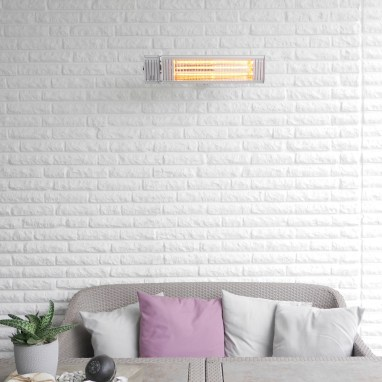 The Appino 20 infrared patio heater with bluetooth app control in white attached to the wall