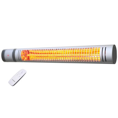 Silver patio heater with remote control