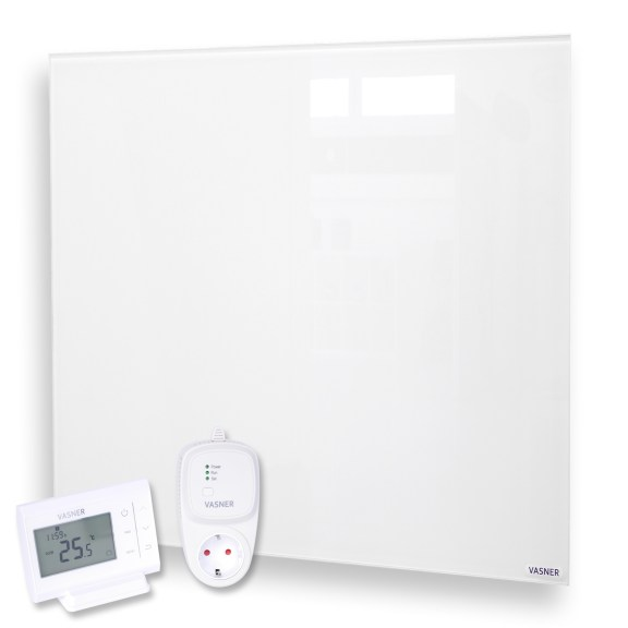 Glass panel heater with thermostat for more energy efficiency