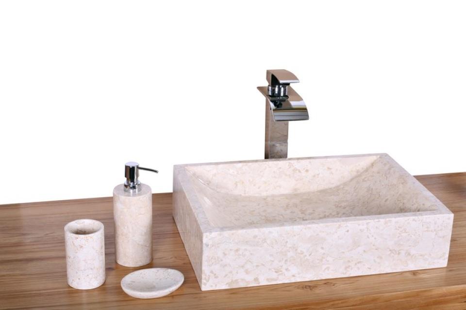 Vasque Rectangulaire En Marbre Crme WA076white