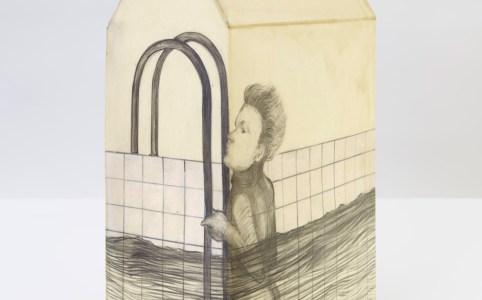 El Bañista. Tridimensional, Graphite on paper, wax, 2017, 38 x 22 x 12,5 cm
