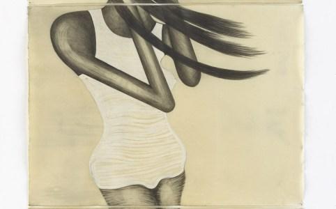 El Viento Drawing on paper, wax, 2016, 3 parts, 235 x 106 cm