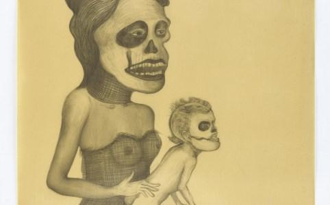 Madre hay una sola. Drawing on paper, wax, 2014, 60,5 x 85,5 cm