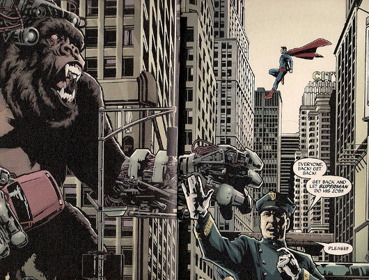 Superman a punto de ostiar a un mico