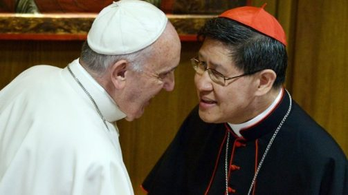 Pope Francis with Cardinal Tagle, President of Caritas Internationalis