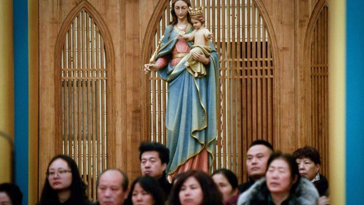 Chinese Catholics at Christmas Eve Mass, 2018