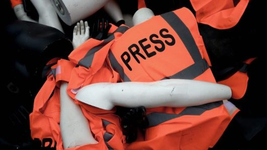 File photo of dummies with press jackets