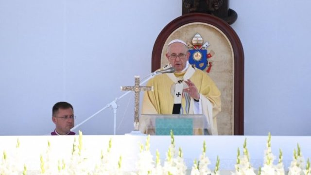 Pope Francis during the closing Mass in Budapest's Heroes' Square, Hungary