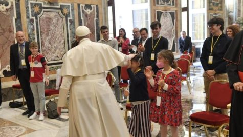 Pope meets a delegation from the Meter Association on May 15, 2021.