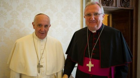 Pope Francis with Archbishop Arthur Roche in May 2016