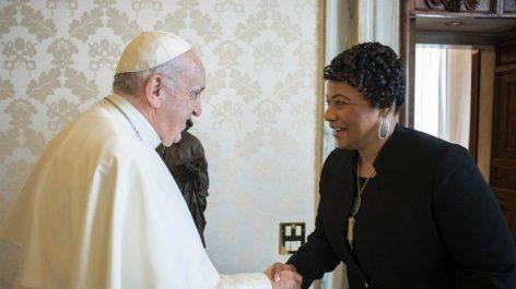 教皇フランシスコとバーニス・キングさん 2018年3月12日