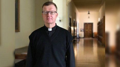 Fr Hans Zollner, SJ, in the hallways of the Pontifical Gregorian University