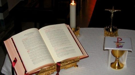 Missal open to the First Eucharistic Prayer, the Roman Canon