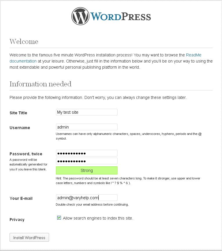 Set up a website with WordPress
