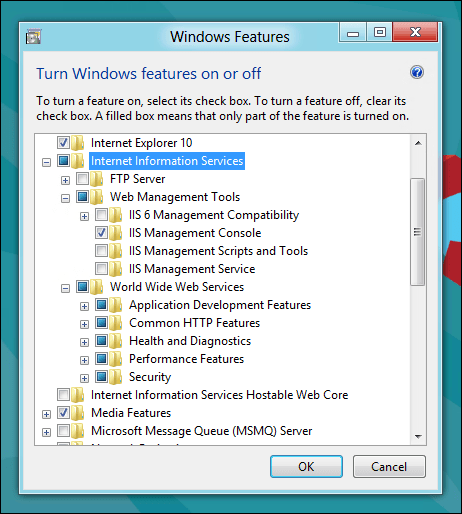 Expand the components to check IIS Management Console