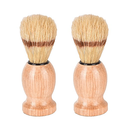 CoscosX 2pcs Pig Mane Shaving Brush Stand Wood