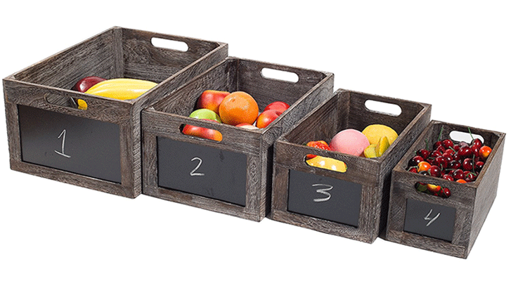 Red Co Vintage Style Produce Chalkboard Front Crates Wooden Box