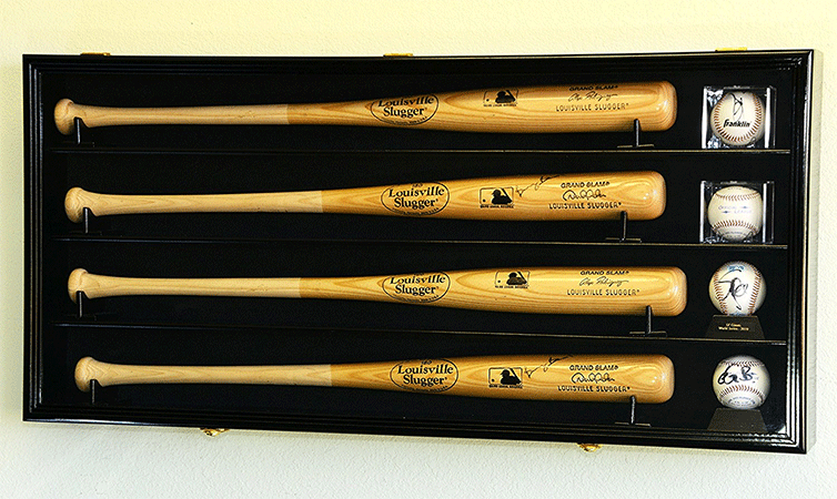 Wall Mounted Baseball Display Case for Four Bats