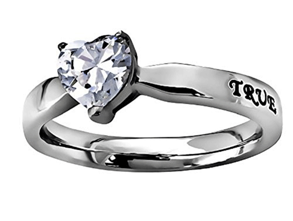 CZ Heart Solitaire Chasity Ring