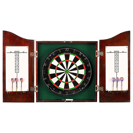 Solid Wood Dartboard and Cabinet Set by Hathaway