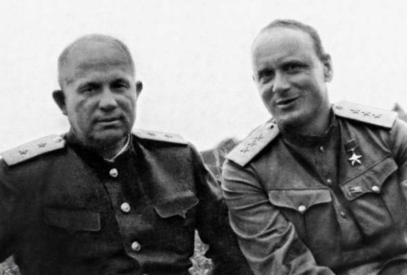 Khrushchev, left, and Serov, right, in 1945