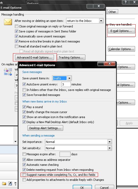 """Check/Uncheck """"Suggest names while completing To, Cc, Bcc fields"""" to enable/disable Autocomplete."""
