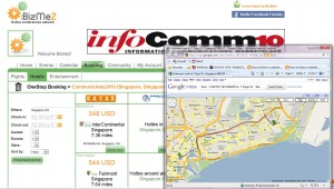 BizMe2 get map information about distance between hotel to the event