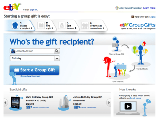 Social Shopping on eBay by the Gifts project
