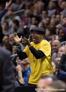 Director turned Ram fan, Spike Lee, cheers on VCU in their semi-final win over UMass.