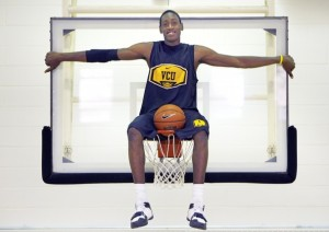 A young Larry Sanders become a fan favorite at VCU early into his career with his highlight blocks and dunks.