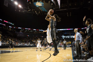 Doug Brooks corner three gave VCU a 62-60 lead with 1:37 to play in tonight's win over rival Richmond.
