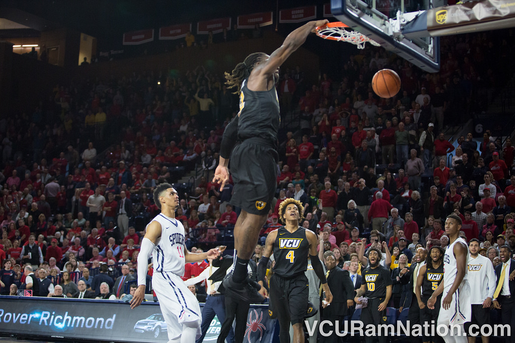 Mo Alie-Cox stole Richmond's final inbound attempt then hammered home a game-ending dunk to give VCU the 94-89 overtime win the last time these two faced.